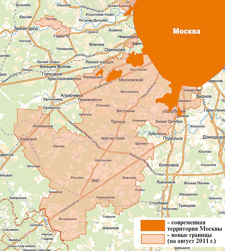 Расширение Москвы на год, карта новых границ в