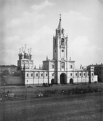 Strastnoy Monastery in present-day Pushkin Square in Moscow, 1852