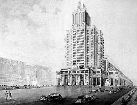 Здание ОГИЗ, эскиз, 1934, Ilya Golosov, 1934, concept fo Ogiz Building, Moscow, USSR
