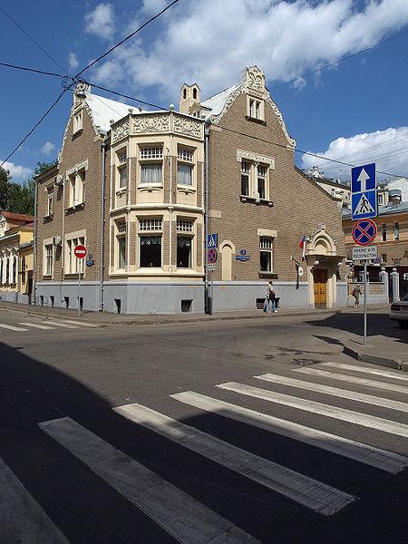 Особняк Некрасова, Хлебный переулок, 20, 1906. Nekrasov House, corner of Khebny Lane and Bolshoy Rzhevsky Lane, Moscow. Architect: Roman Klein (1858-1924)